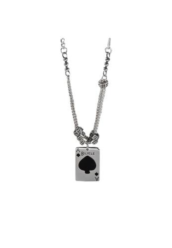LYCKA silver LPP9014 Ace of Spades Necklace 39E7FAC272E34FGS_1