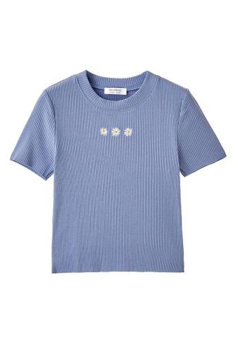 6IXTY8IGHT blue TATIANA, Rib-knit Crop Top TP09039 03464AA2E224ACGS_1