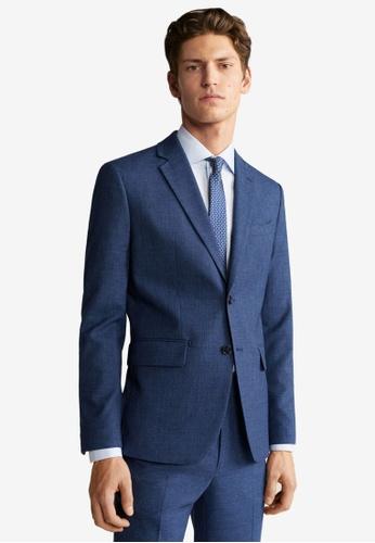 Mango Man green Slim Fit Microstructure Suit Blazer 97FBBAA4B76C5BGS_1