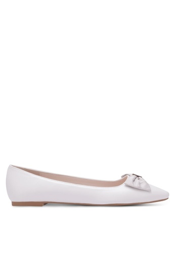 Velvet white Pointed Ballerinas with Bow 581ABSH9B248A4GS_1