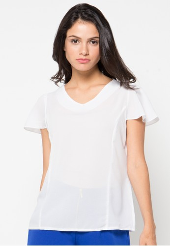 Raspberry white Sandra Short Sleeve Blouse RA572AA49QZUID_1