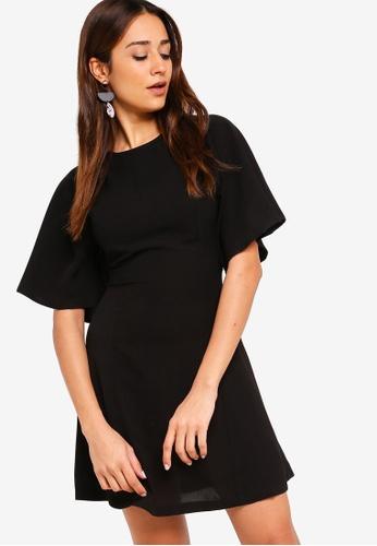 ZALORA black Flare Sleeves Dress 364F1AA506F28BGS_1