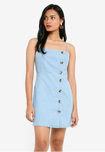 TOPSHOP blue Petite Horn Button Mini Dress 01ECCAA3708C59GS_1