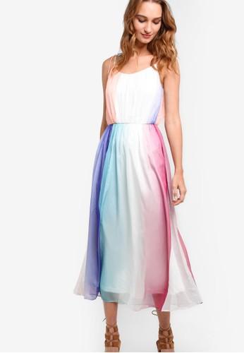 Aurorah 漸層多色束腰細肩帶長洋裝, zalora 衣服評價服飾, 洋裝