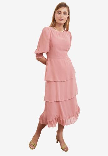 Trendyol pink Poplin Sleeve Tiered Flywheel Dress 4959CAAEE05B8DGS_1