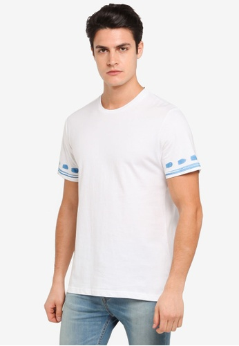 ZALORA white Patterned Brush Print Sleeve Tee 8E483AA51615F0GS_1