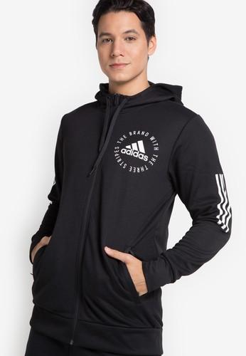 adidas black adidas sport id fullzip hoodie 08F24AA4B24B45GS_1