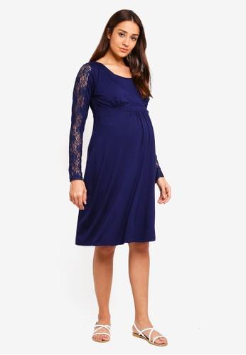 JoJo Maman Bébé 海軍藍色 孕婦裝 蕾絲洋裝 89CD9AAF1AA603GS_1