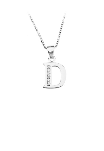 Glamorousky white 925 Sterling Silver Fashion Simple English Alphabet D Pendant with Cubic Zirconia and Necklace E421EAC9D5995BGS_1