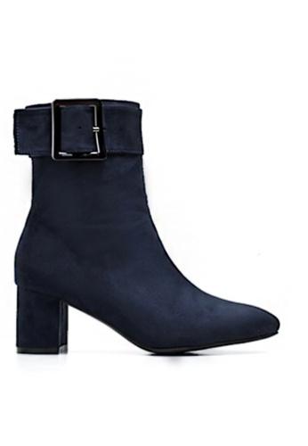 Twenty Eight Shoes 藍色 仿猄布扣子踝靴3362 48D15SH34BFB7CGS_1