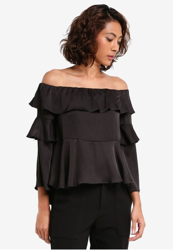 63ab676a0bb8e Preen   Proper black Off Shoulder Bell Sleeve Peplum Top PR614AA0T100MY 1