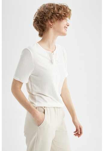 DeFacto beige Short Sleeve Round Neck T-Shirt FB698AA495D535GS_1