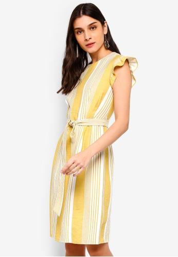 ZALORA white and yellow Self Tie Shift Dress B4C5CAA8157095GS_1