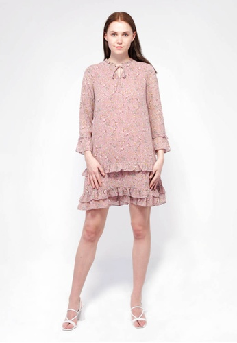 NE Double S pink Ne Double S- Floral Long Sleeve Flare Midi Dress 545B3AA742696CGS_1