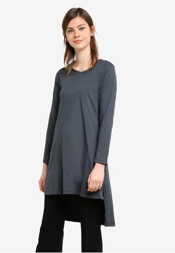 Aqeela Muslimah Wear grey Side Slit Fishtail Top AQ371AA0S4WGMY_1