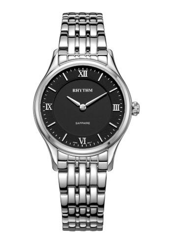 Rhythm P1502S 02 - Jam Tangan Wanita - Stainless - Silver Black