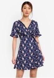Something Borrowed blue and navy Wrap Mini Dress With Ruffles 1E6F4AAEB2CB70GS_1