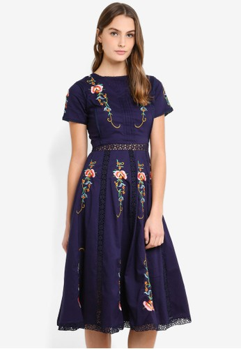 Megane navy Red Romance Calantha Embroidery Dress A824DAADEEFFD2GS_1