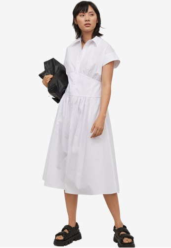 H&M white Shirt Dress C0B04AA742D3D9GS_1