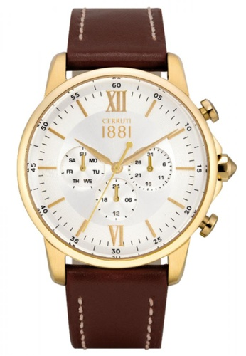 CERRUTI 1881 brown Terra Multifunction Brown Leather Strap Men Watch CE514AC37QOOMY_1