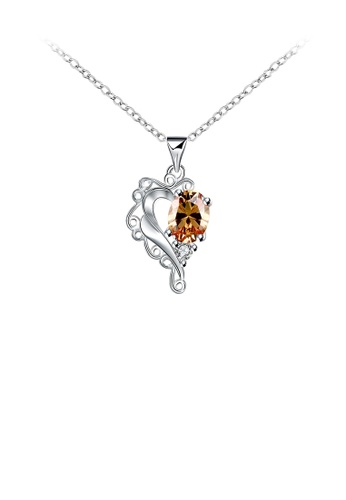 Glamorousky gold Fashion and Simple Carved Heart Pendant with Champagne Cubic Zircon and Necklace 6AD5AAC9D693ADGS_1