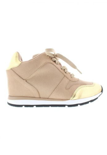 Beira Rio beige and gold Inner Wedge Laced Up Sneaker BE995SH29XFAHK_1