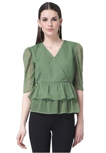 FabAlley green Tiered Peplum Blouse 28B72AADC98311GS_1