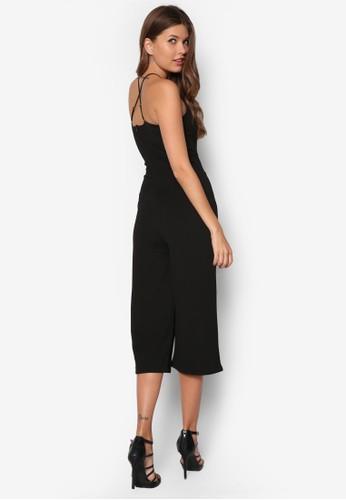 Emilie 交叉zalora 包包評價肩帶暗紋連身褲, 服飾, 連身褲