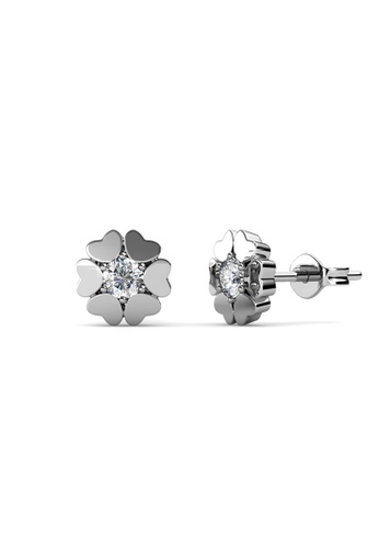 Her Jewellery silver Swarovski® Crystals - Heart Petal Earrings (18K White Gold Plated) Her Jewellery HE581AC0RDQ4MY_1