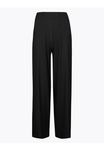 MARKS & SPENCER black M&S Jersey Wide Leg Cropped Trousers BAD72AAD92E747GS_1