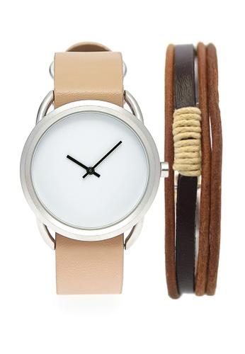 LEUPP beige Ueno Watch And Bracelet Pack E447AAC48E5C87GS_1