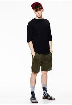 【ZALORA】 Casual 簡約刺繡 棉質抽繩短褲-02425-綠色