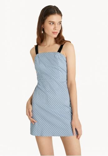 Pomelo blue Mini Polka Dot Dress - Blue 20979AA9FFEA51GS_1