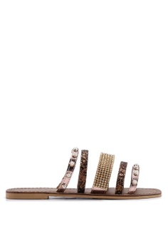 206a1c7d7 River Island brown Leather Multi Strap Embellished Sandals  D1F4ASH8ACC207GS 1