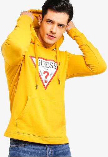 Guess 黃色 經典LOGO帽T 99596AA02C35E3GS_1