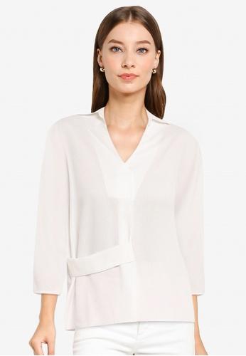 ZALORA WORK white Strap Detail Textured Shirt 51520AA3D8453BGS_1