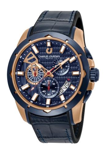 Charles Jourdan blue Charles Jourdan Men CJ1045-1582C Blue Silicone Leather Watch 33257ACFA84D5DGS_1