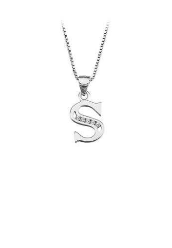 Glamorousky white 925 Sterling Silver Fashion Simple English Alphabet S Pendant with Cubic Zirconia and Necklace F61A9AC0C85A3EGS_1