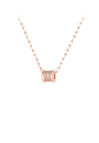 Glamorousky white Simple Temperament Plated Rose Gold Geometric Cylindrical Cubic Zirconia 316L Stainless Steel Pendant with Necklace D96D7ACEB6B68FGS_1