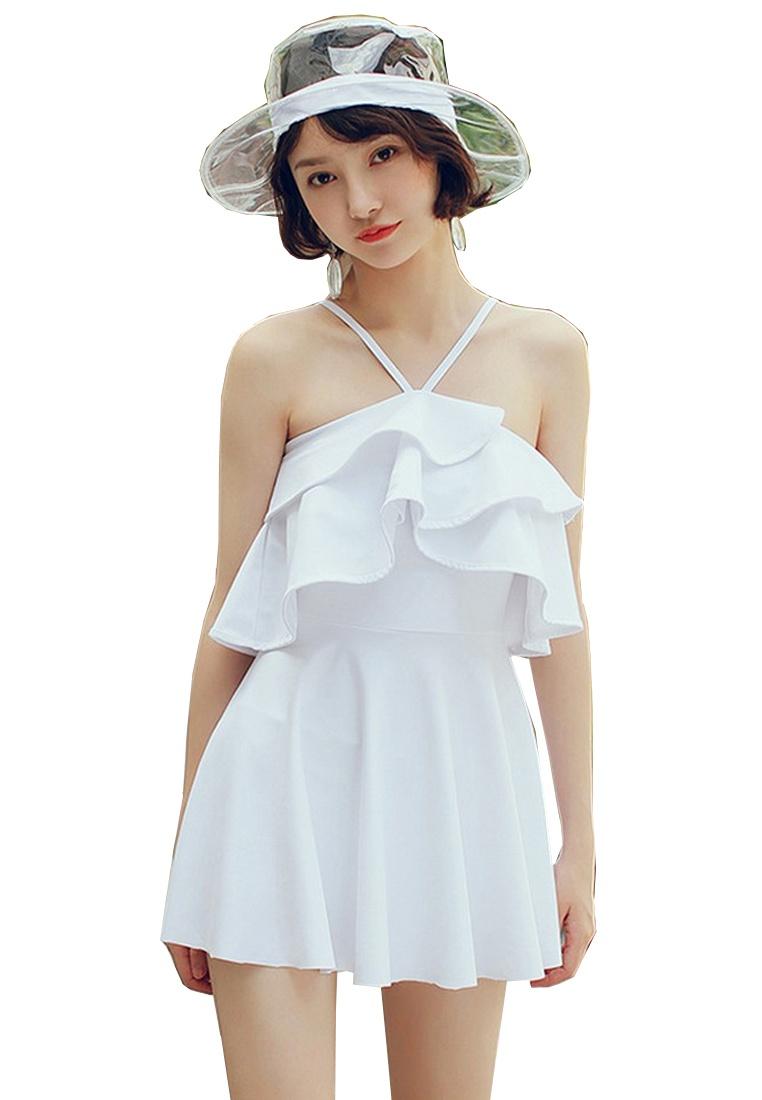 Trim White LYCKA Lady LVV88790 Padded Ruffled Swimwear White zzIH87W