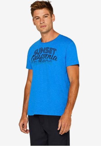 ESPRIT 藍色 Surfer Print T-襯衫 8F560AA2F7DC46GS_1
