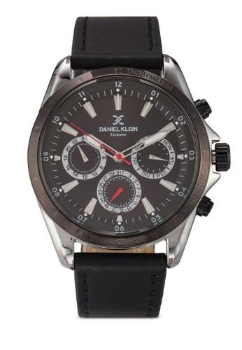 44zalora 泳衣mm DK11024-5 皮革錶帶圓錶, 錶類, 飾品配件