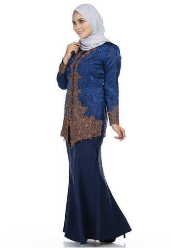 Yulia Kebaya with Bronze Lace Embellishment from Ashura in Blue and Multi and Brown