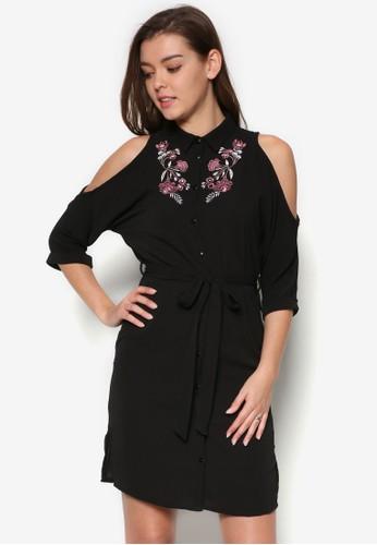 繡花挖esprit outlet肩襯衫式洋裝, 服飾, 服飾