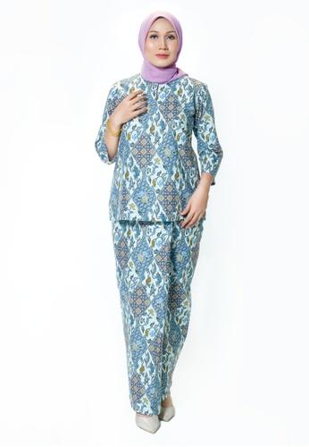 Buy House Of Olsha Batik Cotton Kurung Kedah Uda Blue Online Zalora Malaysia