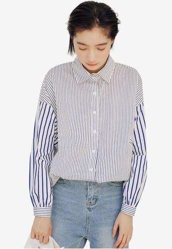 Shopsfashion white Batchwork Shirt 95BAEAA7953472GS_1