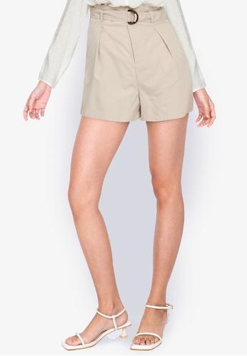 ZALORA BASICS beige High Rise Shorts with Belt 8AB38AA6867C96GS_1