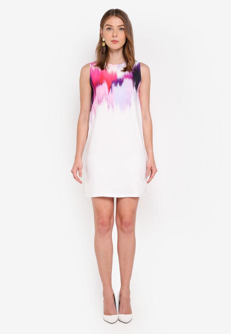 White Print Dress Pink Abstract Print ZALORA Based Shift xHqTSwdSI