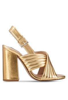 Metallic Crossed Heeled Sandals