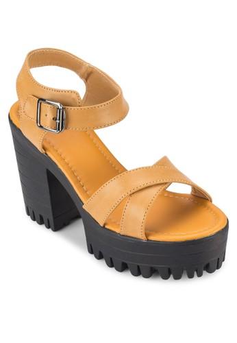 COVET 交叉帶厚底粗跟涼鞋, 女鞋, esprit hk outlet鞋